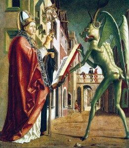 The Devil Presenting St. Augustine with the Book of Vices, by Michael Pacher